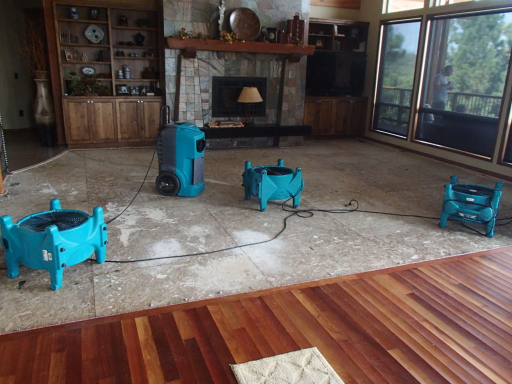 drying a home with dehumidifiers and high-pressure fans