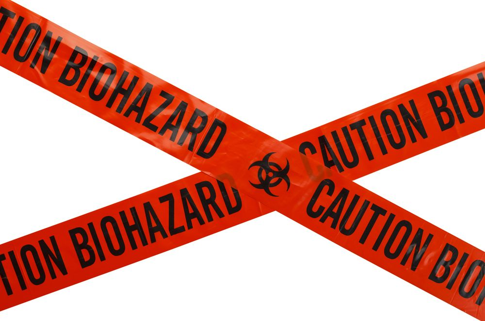 Red biohazard caution tape