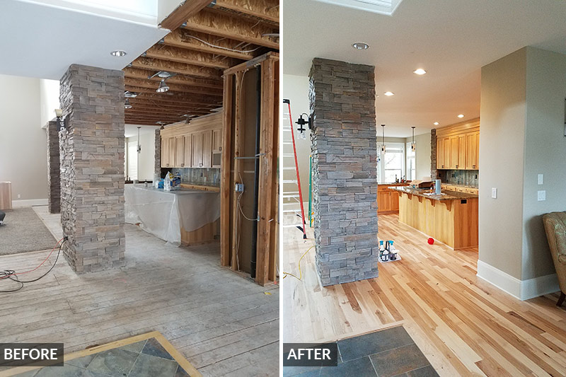Before and after images of a residential kitchen restored from water damage