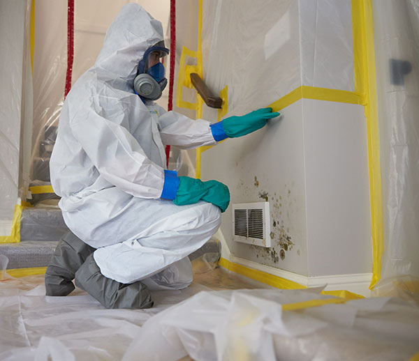 A ServiceMaster technician wearing a biohazard suit assesses mold growth on the wall of a home