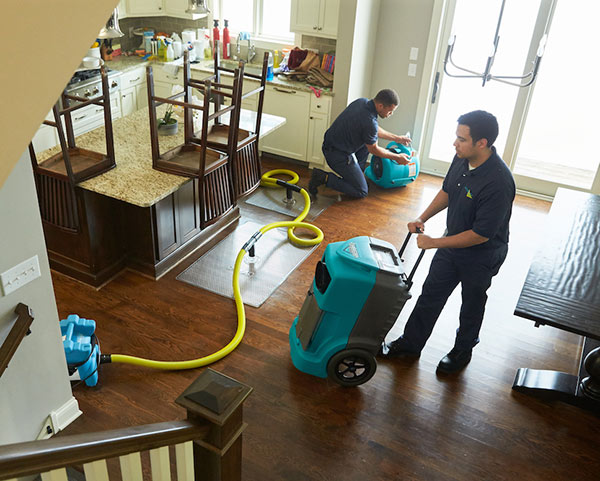 ServiceMaster technicians restoring water damage in a residential kitchen